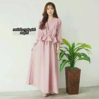 pink marun putih maxi dress longdress polos baju wanita muslim hijab