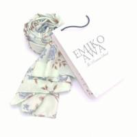 Kerudung Segiempat Motif Sakura blue / Hijab / Jilbab / Emikoawa