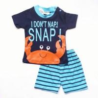 Baju Setelan Anak Bayi Laki Cowok Kaos Crab Kepiting Celana Garis