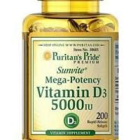 Puritan Pride Vitamin D3 5000iU - USA - 200 Softgel Murah