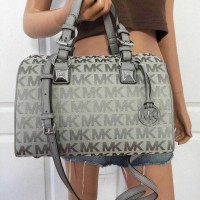 Michael Kors MK grayson satchel large signature grey