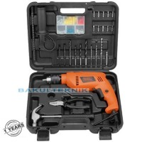 Bor Impact Mesin Bor 13mm Hammer Drill Black Decker HD555 Koper Set