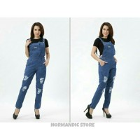 JUMPSUIT JEANS RIPPED FOR HIJABER SOBEKAN LAPIS FURING /OVERALL JEANS
