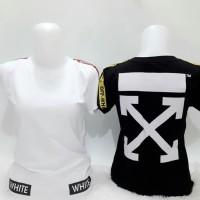 Kaos line off white white (white, black) kaos wanita