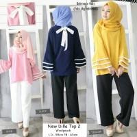 Baju Wanita Atasan Pakaian New Dilla Top 2 Tunic Blouse Muslim Hijab