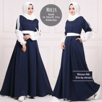 Baju Wanita Muslim Pakaian Hijab Moeza Dress Navy Tunic Blouse Dress