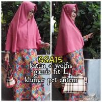 Gamis abaya maxi dress bergo kerudung syari baju muslimah GSA 15