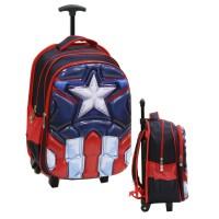 Jual Tas Anak  SD Import Trolley Avengers Captain America 6D-Red Murah