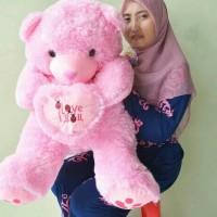 harga Boneka Teddy Bear Besar Pink I Love You Uk.80cm Tokopedia.com