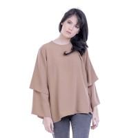 Baju Atasan Blus Blouse Wanita Cewek Cewe Warna Coklat H 3202 HN