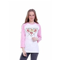 Baju Atasan Kaos Lengan Panjang Wanita Cewek Cewe Putih Komb H 0292 HN