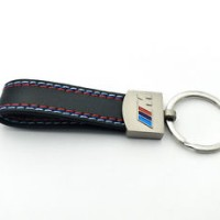 Metal Leather Key Chain Fob Ring Silver Chrome For BMW M M3 M5 M6 X3 X