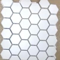 Keramik Mozaik Hexagonal 5 cm Putih Doff