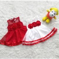 Baju Dress Pesta Kondangan Anak Bayi Perempuan Merah Putih Bunga