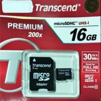 Jual Transcend MicroSDHC 16GB Class10 WITH Adapter Murah