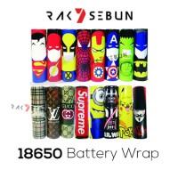 Jual 18650 Battery Wrap Sleeve Superheroes Edition Vapor Batere Baterai Murah