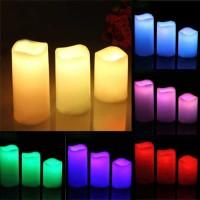 Jual Lilin LED RGB Bisa Berubah Warna Dengan Remote (3PCS) Murah