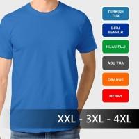 Jual Baju Kaos Polos Dewasa Big Size Jumbo XXL 3XL 4XL XXXL T-Shirt Oblong Murah