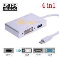 USB 3.1 TYPE C TO VGA HDMI DVI + USB 3.0 Hub ADAPTER 4 IN 1