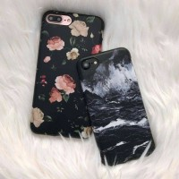 case iphone 4 5 6 7 8 plus samsung A5 s7 black marble & dark flowers