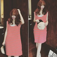 Red Striped Sleeveless Hooded Cotton Dress