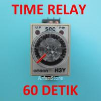 TDR 60 Detik Time Delay Relay Timer Penunda Waktu AC 220V H3Y-2 Omron