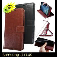 Jual Samsung Galaxy J7 Plus Leather Case Luxury Wallet Flipcase Murah