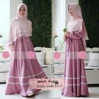 baju muslim gamis polos pink pakaian wanita murah