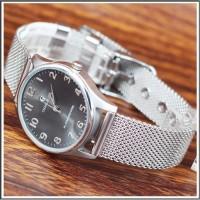 jam tangan wanita original Charlie Jill 1505 Silver Plat Black