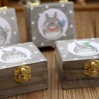 Jual kotak musik kayu, wooden music box desain studio ghibli totoro Murah