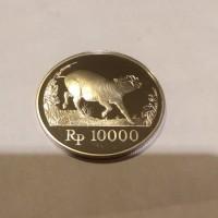 uang perak Indonesia gambar babi rusa tahun 1987 nominal 10000 langka