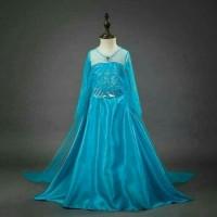 Kostum Dress Gaun Pesta Ulang Tahun Princess Elsa Frozen Mewah Import