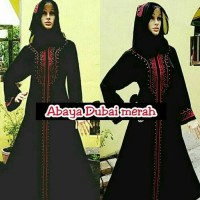 abaya/gamis/jubah/dress bordir dubai merah plus pashmina