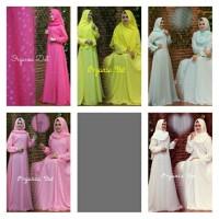 Maxi gamis hijab organza dot buble crepe putih pink lemon hijau putih