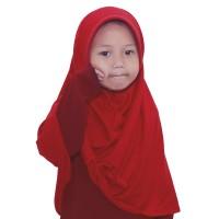 BAJUYULI - Kerudung Jilbab Anak Murah Polos Pita Cantik Merah Cabe GZM