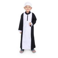 BAJUYULI - Koko Gamis Baju Muslim Anak Cowo Murah Putih Hitam KGS01 - XS