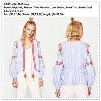 ABW - Outer Cardigan Etnik Lengan Balon Garis Baju Wanita Import Biru