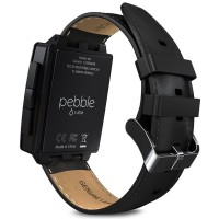 Pebble Steel Smartwatch with Leather Watch Band