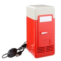 [SX] Kulkas Mini USB LED PC Refrigerator Drink Can Cooler Warmer Red