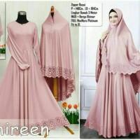 Jual Shireen Gamis Syari Abu Silver Baju Pesta Muslimah Kualitas Premium Murah