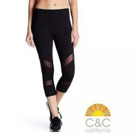 C&C Black Mesh Capri |Celana Legging olahraga gym yoga murah grosir