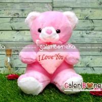 Boneka Teddy Bear Love Pink Medium ( HK - 487526 )