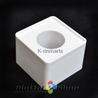 Krinsmarts White ABS Mic Microphone Interview Square Cube Logo Flag St