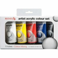 Reeves Basic Color Acrylic Paint Set 5 Pack x 75ml