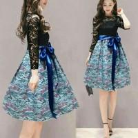 dress frencia / mini dress brukat batik / pakaian wanita