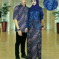 Baju Couple Kebaya & Kemeja Batik / Fashion Moden CP Raisha Navy