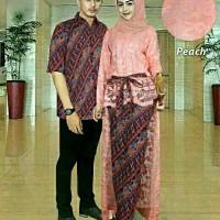 Baju Couple Kebaya & Kemeja Batik / Fashion Moden CP Raisha Peach