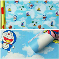 Wallpaper dinding sticker karakter doraemon ceria 10M x 45CM grosir