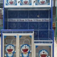 stiker rak piring motif Doraemon 3 pintu