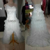 sewa / rental gaun pengantin putih kemben pinguin(harga sewa+deposit)